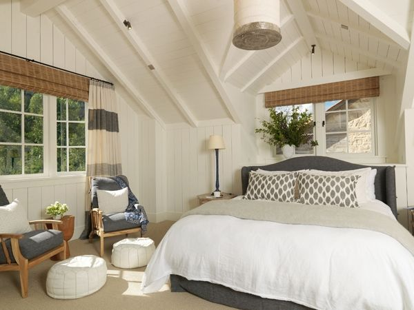 bedroomGuest Room, Curtains, Beds, Colors, White Bedrooms, Master Bedrooms, Cottages, House, Vaulted Ceilings