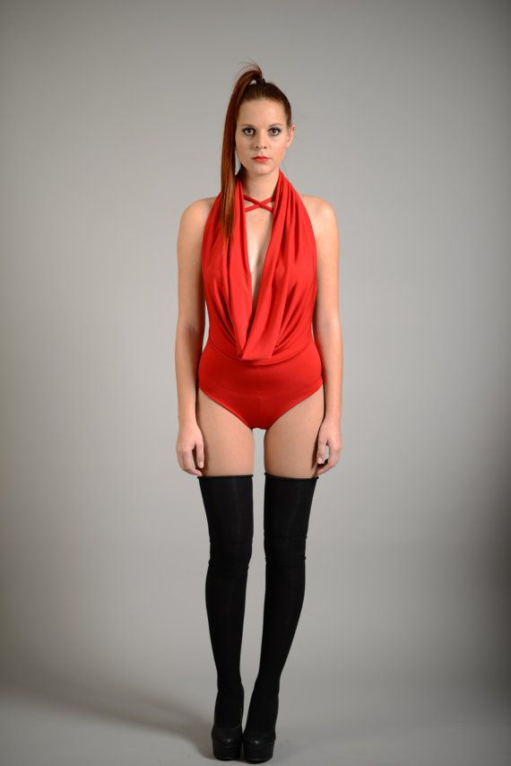 Red Bodysuit Sexy Red Leotard Open Back Leotard Cut Out by RALELE