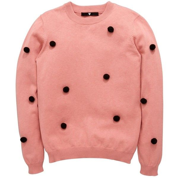 V By Very Girls Pom Pom Jumper (£14) ❤ liked on Polyvore featuring tops, sweaters, red jumper, red sweater, pom pom tops, pink sweater and red top