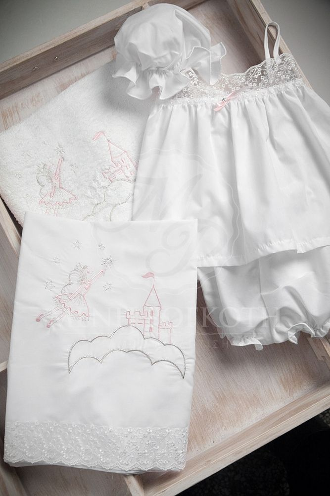 Embroidered castle and fairy Christening lathopana
