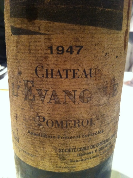 Château L'Evangile 1947 / Bordeaux / Pomerol. One Of the best old vintages for this Legendary Estate