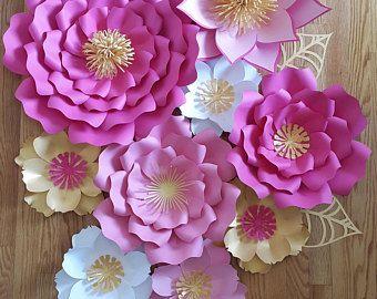 Telón de fondo de flores grandes de papel, flores de papel de vivero, flor de papel para la ducha de bebé, bebé ducha fondo, flor de papel grande, pared flor