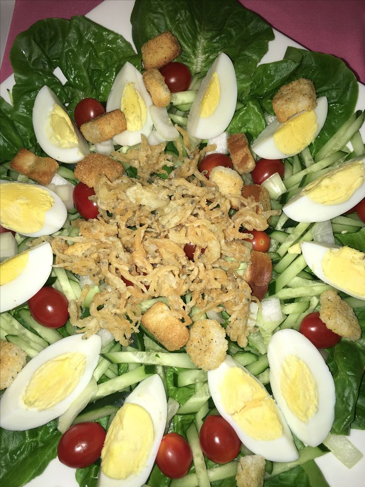 Egg, Tomatoes and White bait Salad