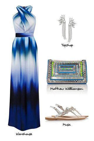 What to Wear to a Beach Wedding-Warehouse maxi dress-Matthew Williamson Embellished Clutch-Musa Crystal Flat Sandals-Accessorize Crystal Ear...