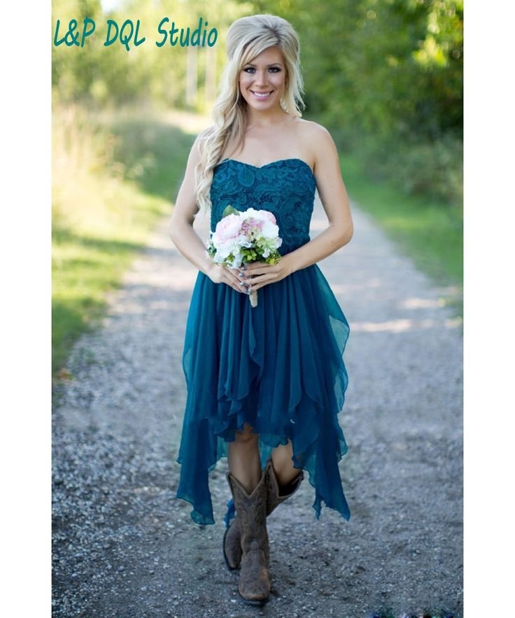 Aliexpress.com : Buy Country Bridesmaid Dresses 2016 Short Hot Cheap For Wedding Teal Chiffon Beach Lace High Low Ruffles Party Maid Honor Gowns from Reliable cheap plus size casual dresses suppliers on L&P DQL Studio Lpdress Store