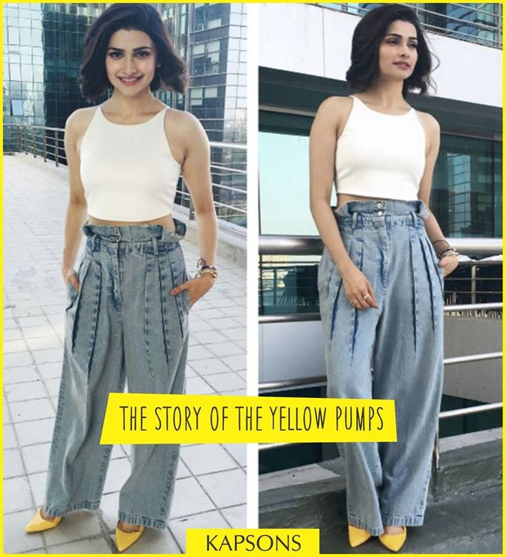 P.S- Don't forget to checkout her spring-ready outfit!!! #YellowPumps #PrachiDesai #Kapsons