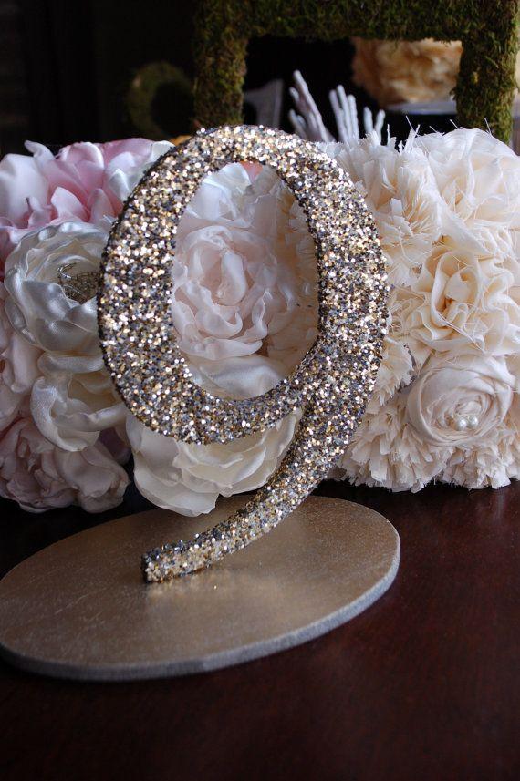 Glitter Wedding Table Numbers - Wedding Decorations #weddingtablenumbers #weddingreception #weddingdecor
