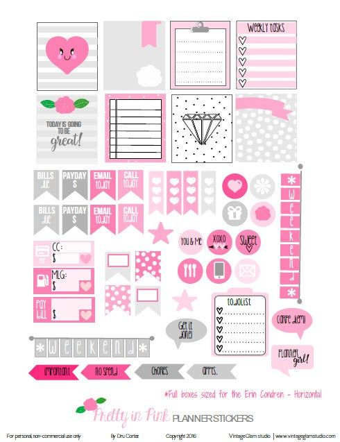 FREE Pretty in Pink Planner Stickers   Free planner printable by Vintage Glam Studio