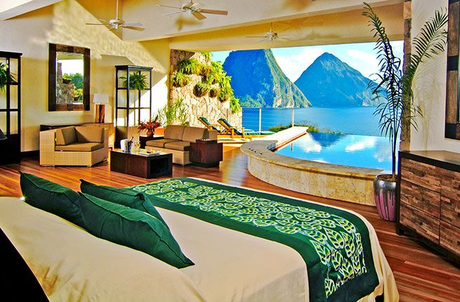 Gotta get to St. Lucia. This hotel is pricy, but unbelievable. (15 Jaw-Dropping Hotels in the Caribbean by Fodor's)