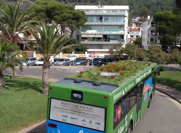 buses with gardens growing ontop of it