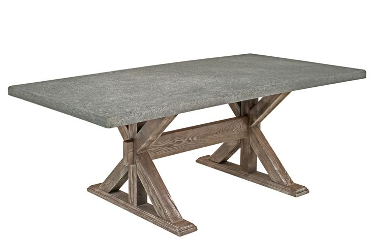 Another unique dining table design from the craftsmen at Woodland Creek Furniture. A concrete table top is paired with our popular rustic chic wooden X base. This design can be used indoors or outdoors. The top is waterproof and will stand up to the elements or just about anything else you can put it through.