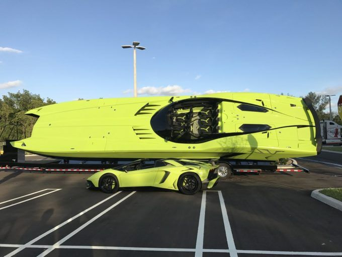 Lamborghini Aventador SV and Matching Speed Boat For Sale