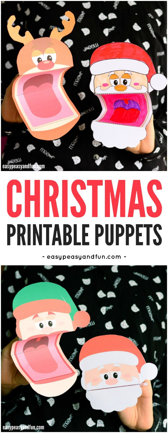 Printable Christmas Puppets for Kids. A fun Christmas craft for kids to make and play with. #Christmascraftsforkids #Papercraftsforkids #printablepuppets