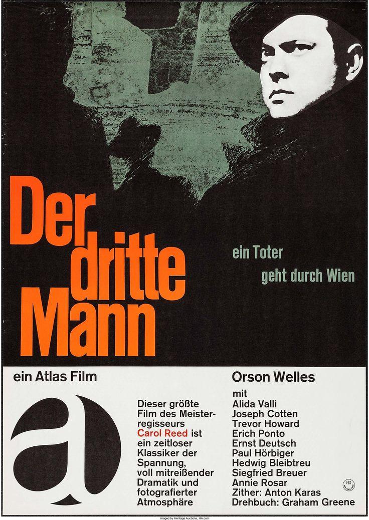 "The Third Man (Atlas, R-1960s). German A1 (23"" X 33""). Film Noir."