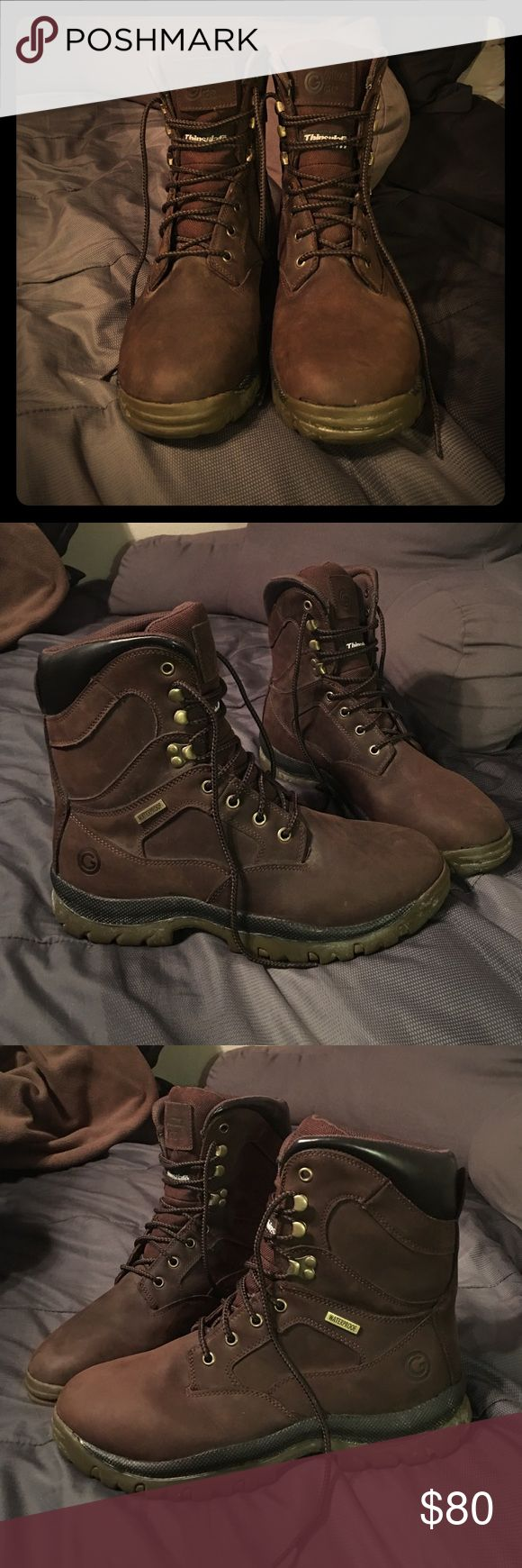 Men's Thinsulate Boots Brand new Thinsulate boots! Never worn before and were kept in salt, that's the reason behind the white coloring you see on the brim of the boot. Beautiful dark brown color and would be great for snow or any type of hiking! Let me know if you have any questions!! Shoes Boots