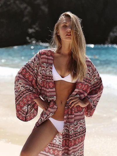 Bohemia Floral-Printed Long Sleeve Beach Cover-Ups
