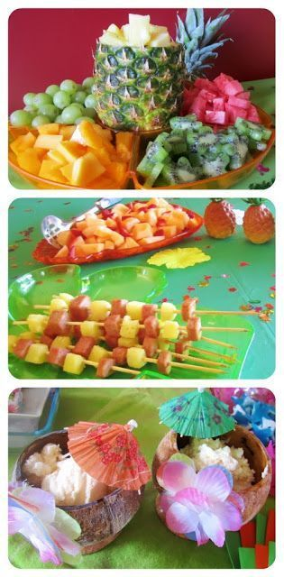 Tiki Hawaiian Party ideas. Use tropical   fruit and skewered treats for easy entertaining {Made by a Princess Parties in   Style}
