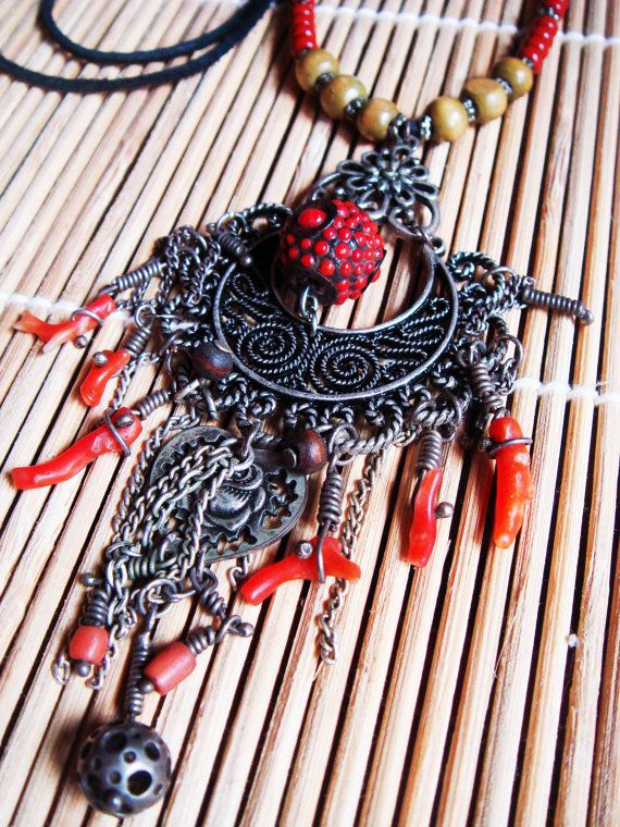 Oriental Coral Necklace by PomPaw on Etsy, zł140.00