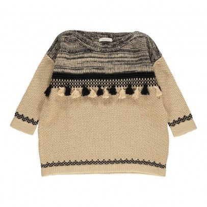 Miwok Braided Stitch Large Pullover Sweater Beige Sessun