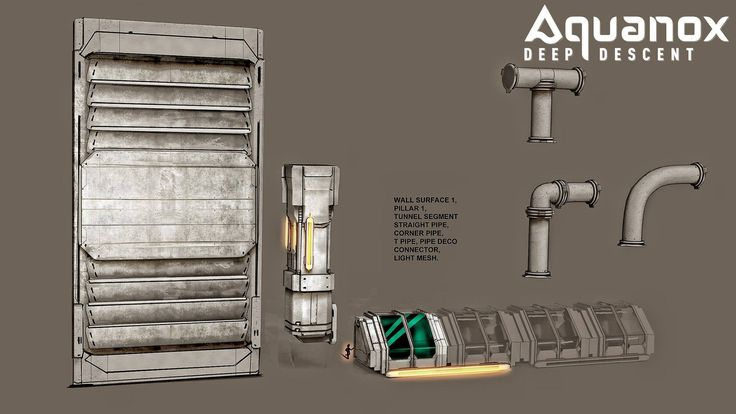 CONCEPT ART: The artwork below shows some game elements like tunnels, connectors, decorative pipes. And the small guy in the middle of the picture should give you an idea of the sizes #aquanox #deepse #ocean #concept #art