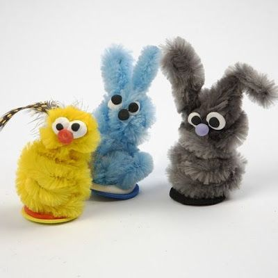 Easter Animals made from Pipe Cleaners and Silk Clay