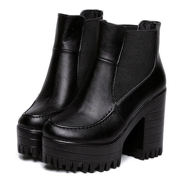 Black Chunky High Heel PU Pumps (150 BRL) ❤ liked on Polyvore featuring shoes, boots, ankle boots, black, heels, high heel shoes, kohl shoes, chunky shoes, round cap and black shoes