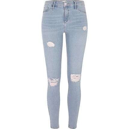 Mid blue ripped Molly jeggings £42.00