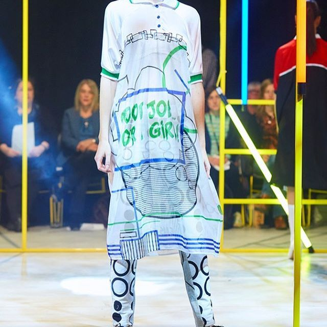 "Sophie Maddocks - Manchester School of Art - Graduate Collection 2017. Feminism. Comic. Pop Art. Manchester Fashion Show. Silk, digitally print dress. Digitally printed jeans. ""Good job for a girl"""