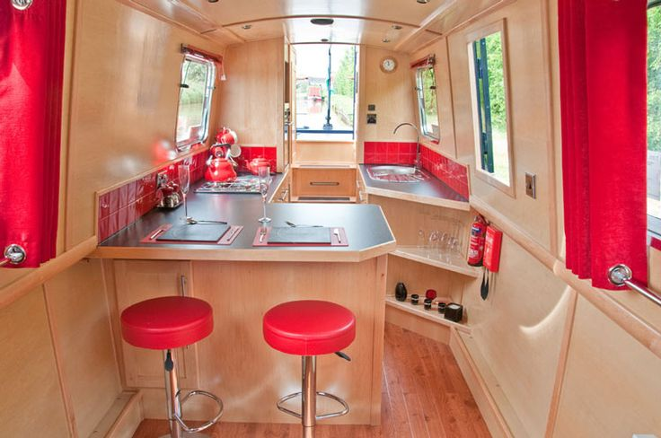 Narrow boat galley - like the top and bottom grommet curtains and rails