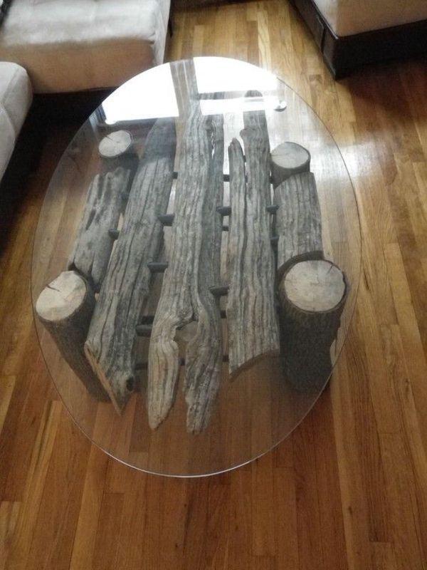 Treibholz Oval Platte Tisch Couchtisch Bauen Zweige