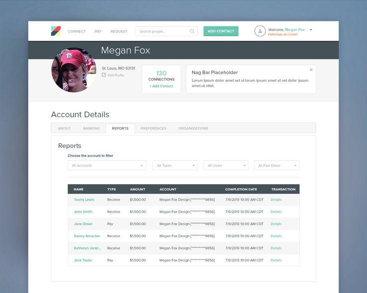 Personal reports tab for a responsive online payment application. Flat table design