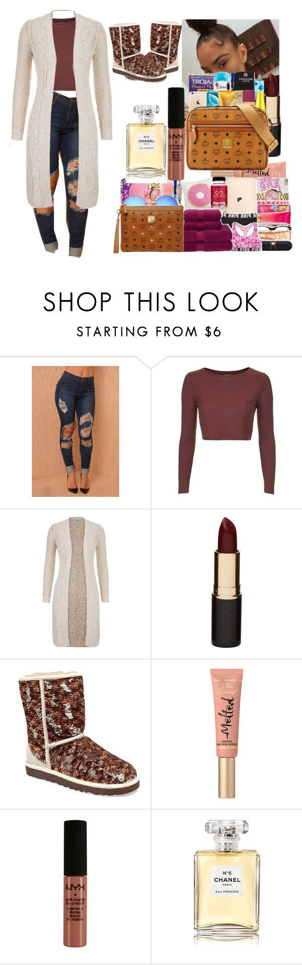 """BRIMMMBABYY"" by ohh-malaysia ❤ liked on Polyvore featuring Topshop, maurices, Mimco, UGG Australia, Too Faced Cosmetics, Chanel, women's clothing, women, female and woman"