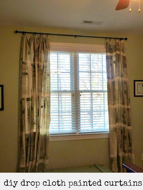diy drop cloth painted curtains