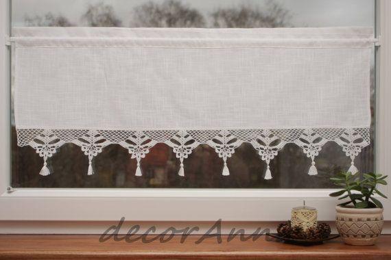 Gehäkelte gardine Vorhang mit Spitzen häkeln Café von DecorAnna