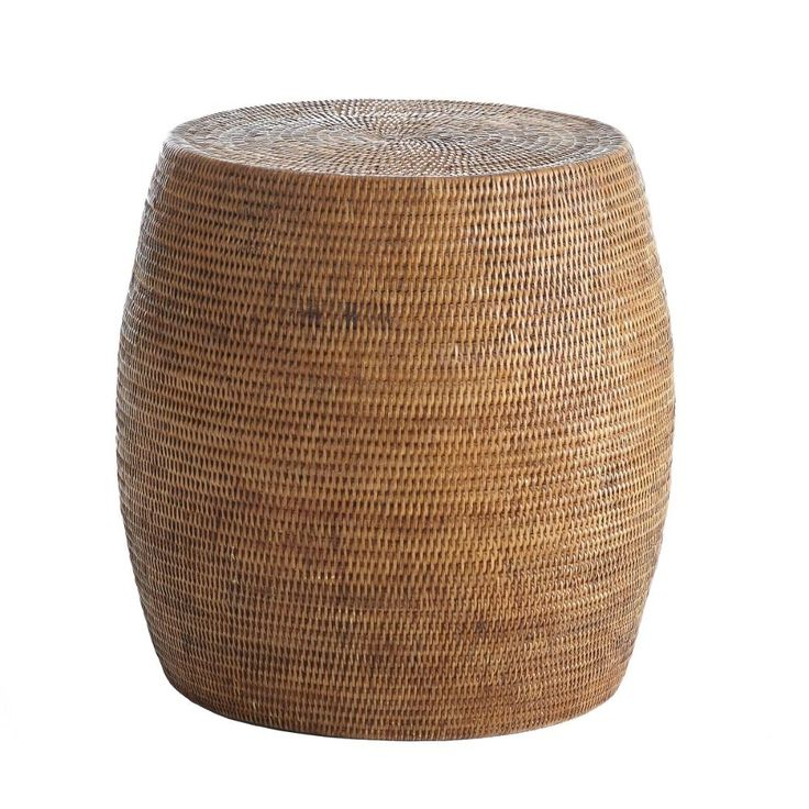 "Rattan Drum Stool 17.25""Dia x 17.75""H"