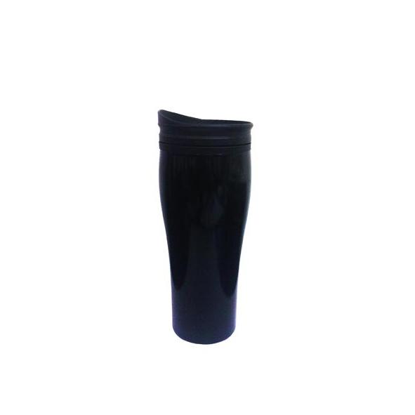 COD.TT008 Mug Metálico  Práctico vaso, ligero, compacto y portátil confeccionado en aluminio cubierto con pintura epoxi negra y en su interior de pared plástica para un óptimo mantenimiento de la temperatura de líquidos. Posee tapa a rosca. De boca ancha, lo que hace que sea fácil de llenar, beber y limpiar. Incluye delicada caja contenedora color negro. Capacidad 450 CC.