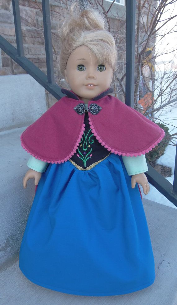 Anna dress and cape from Frozen for American by hollyberrysdolls, $45.00