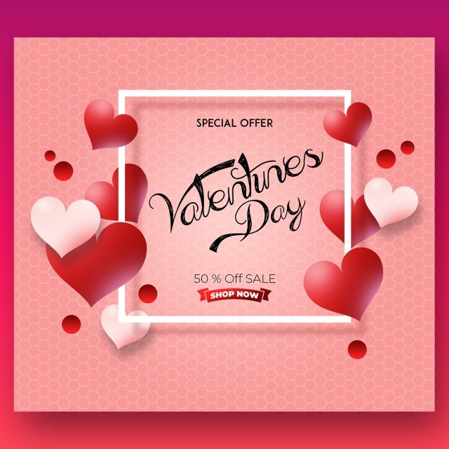 Simple Pink Colour Vector Valentine Sales Card Color Vector Valentine Heart Card Balloon Template