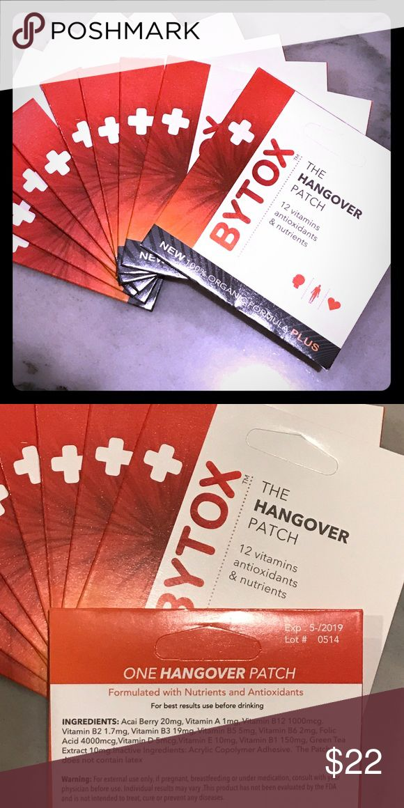 BYTOX Hangover Patches -Set of 5- Organic Formula! The BYTOX Hangover Patch is the perfect Hangover prevention! A self adhesive, latex free patch and all organic formula with 12 vitamins antioxidants and nutrients. Just put it on before drinking and leave it until the next morning. Great to use for yourself or to give as gifts or include in bachelorette or party favors! *Set of five patches. Bytox Other