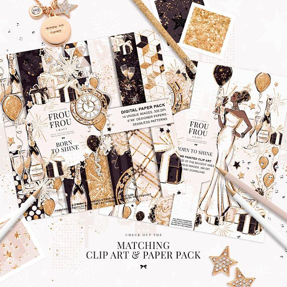 new year clip art fashion birthday party clipart winter gold glitter champagne planner stickers engagement bachelorette party diy invitation art images