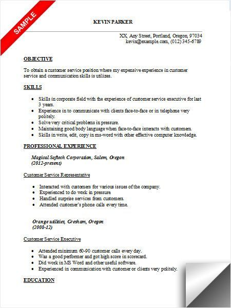 Customer service Resume examples, objectives Resume format If you