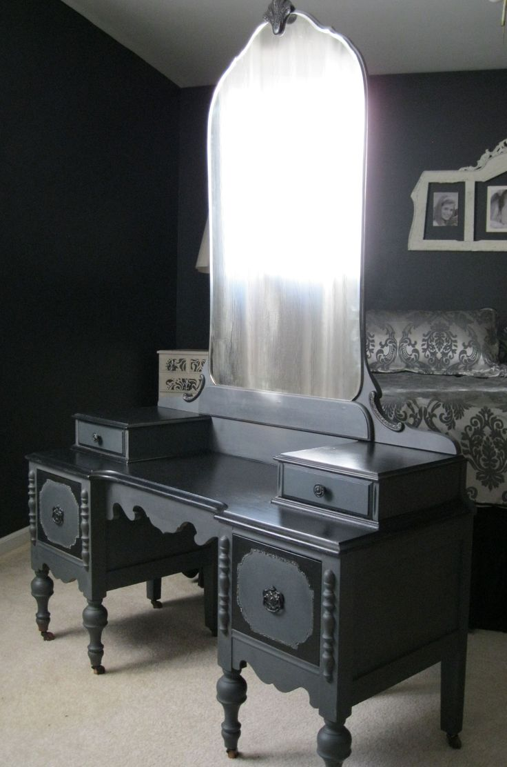 "This vanity was paired with Wood Icing™ Furniture Glazing Color - ""Black Licorice"" over the top of Graphite, Chalk Paint® Decorative Paint by Annie Sloan. For a soft satin feel I waxed and buffed over the entire piece with Chalk Paint® Clear Soft Wax by Annie Sloan.  I think it looks so romantic in my Black and White guest room"