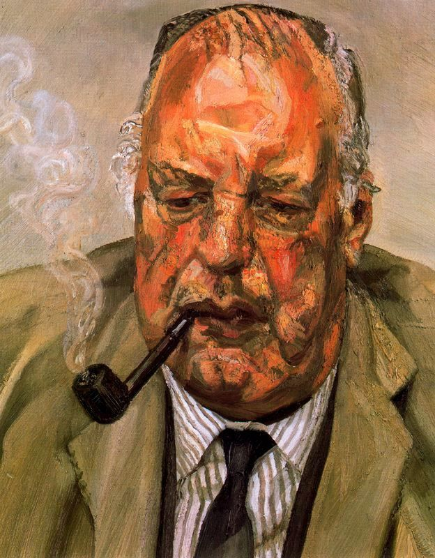 "Lucian Freud, Berlin, Germany (1922-2011). British expressionist painter. ""Man Smoking"" (1987). Oil on canvas. 40.8x50.8cm. Private Collection."