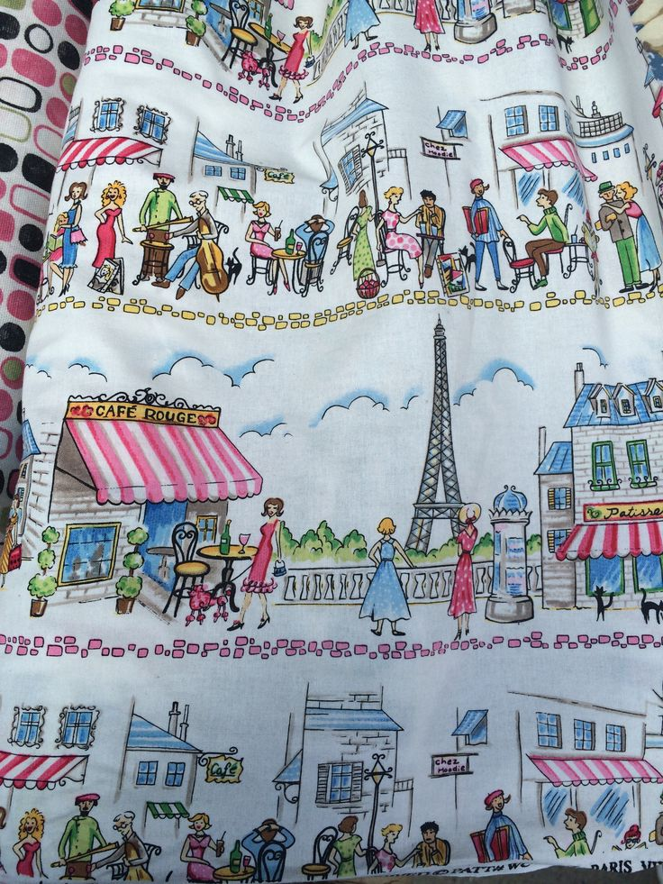 Homage to Paris!!!...found this great piece of fabric in Delancey NYC. Would make a great full knee length skirt!