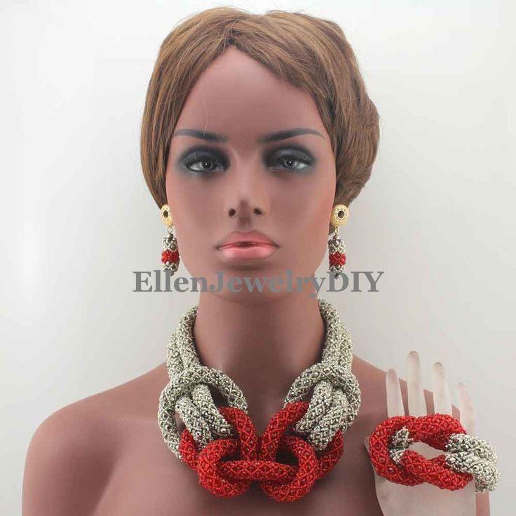 Elegant New African Costume Jewellry Set Silver/Red Crystal Beads Set Nigerian Wedding Bridal Jewelry Set Free Shipping W13137