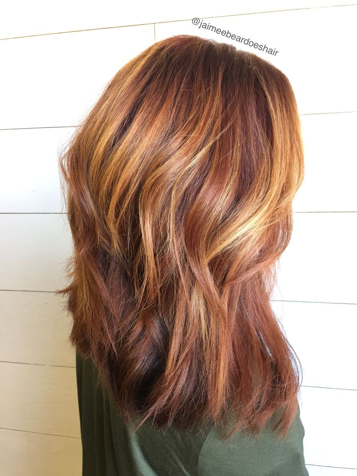 Red bayalage ! Auburn roots with golden warm bayalage highlights