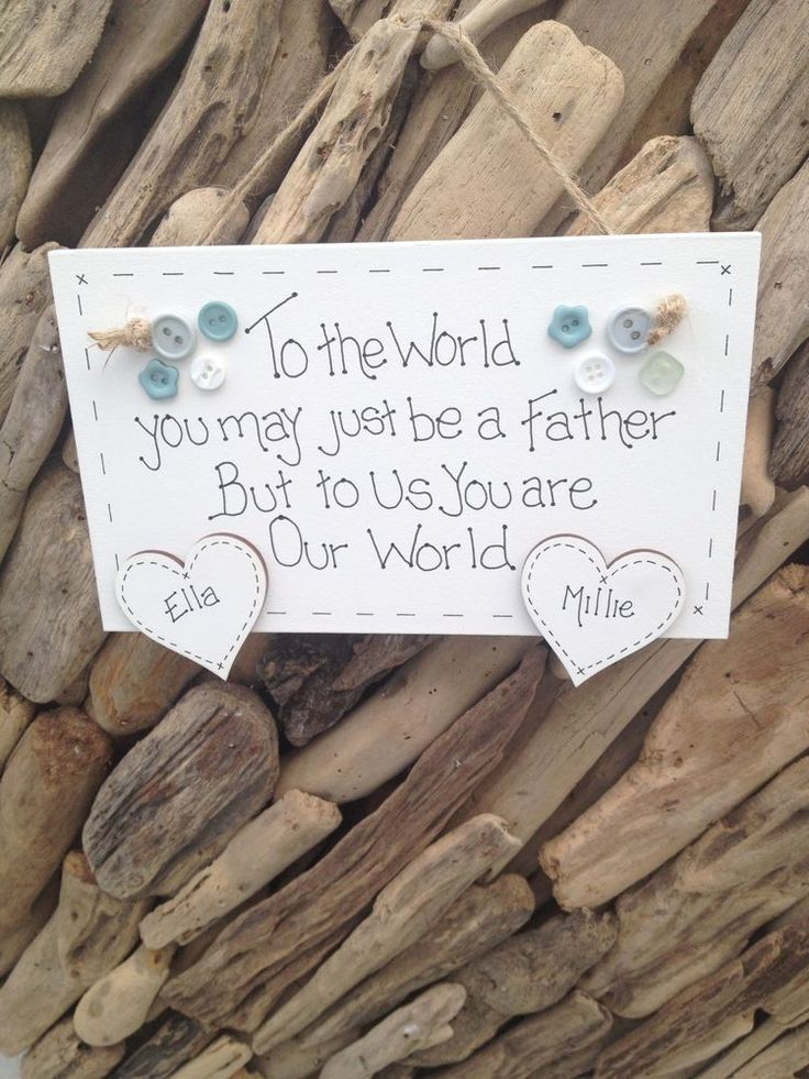 Father Dad Personalised Plaque Sign  Hearts 4 Kids Names Gift Present Handmade