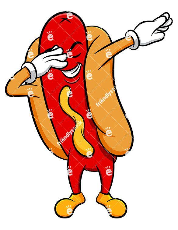 Dabbing Hot Dog Sandwich Cartoon Vector Clipart Friendlystock Hot Dogs Cartoons Vector Cartoon Clip Art