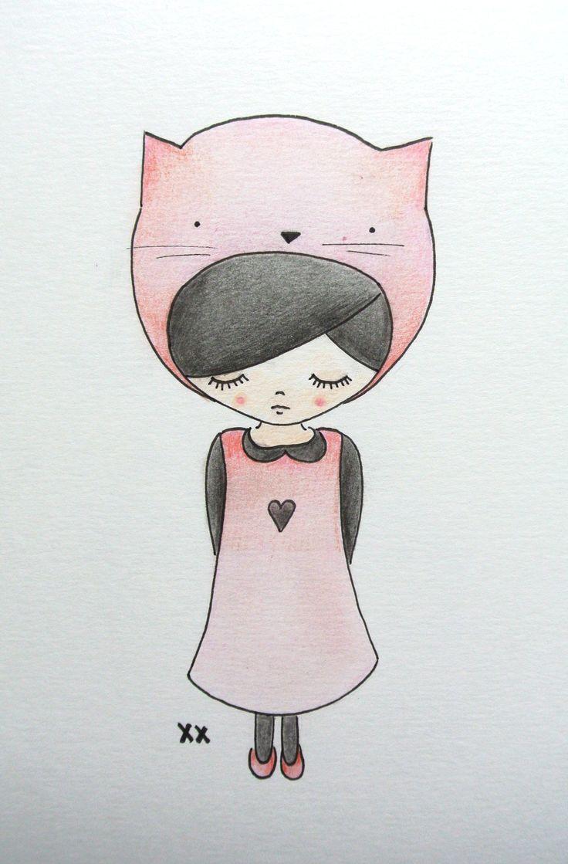 illustration girl   illustratie meisje   kidsroom   kinderkamer www.kinderkamervintage.nl