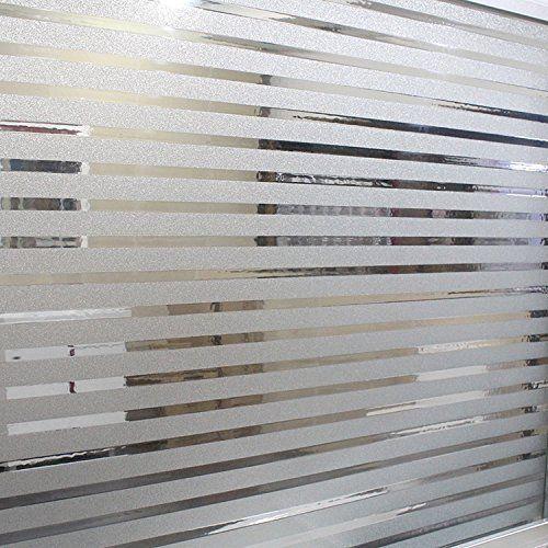 Natural Home窓ガラスフィルム 装飾用·日焼け防止シート  UVカット目隠し・半透明 浴室窓用目かくしシート 断熱/紫外線カット 無接着剤 再利用可能 オフィス 事務室 ショールーム サイズ:45*200cm (横縞)